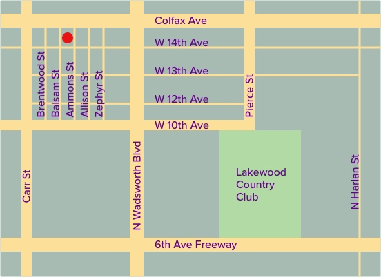map of Mary Able's office location in Lakewood, CO